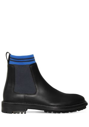 40MM LEATHER & KNIT CHELSEA BOOTS