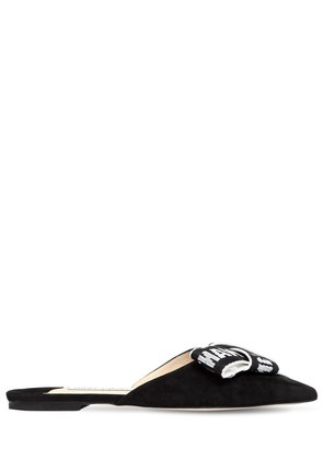 10MM GRETCHEN LOGO BOW SUEDE MULES