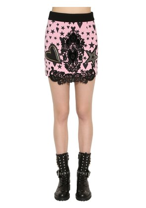 WOOL CREPE MINI SKIRT W/ LACE & LEATHER