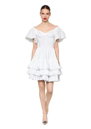 RUFFLED COTTON POPLIN DRESS