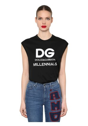 LOGO PRINTED JERSEY SLEEVELESS T-SHIRT