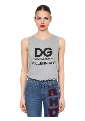 LOGO PRINTED COTTON JERSEY TANK TOP