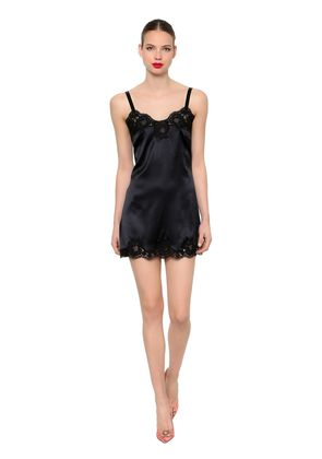 STRETCH SATIN & LACE DRESS
