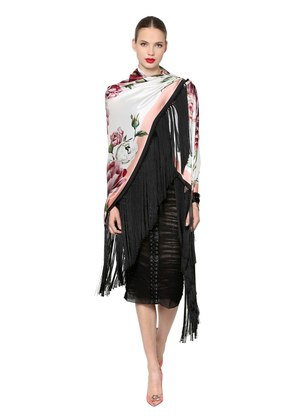 FLORAL SILK SATIN SHAWL WITH FRINGE