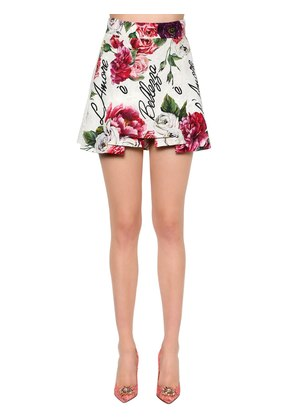 FLORAL PRINT LAYERED BROCADE MINI SKIRT