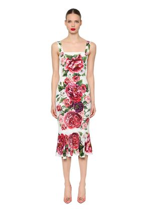 FLORAL STRETCH CHARMEUSE FITTED DRESS