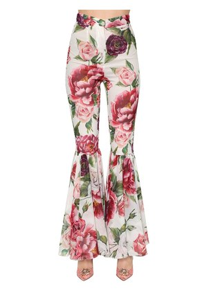 FLORAL STRETCH SILK CREPE FLARED PANTS