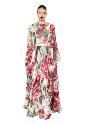 FLORAL SILK CHIFFON DRESS & CRYSTAL BELT