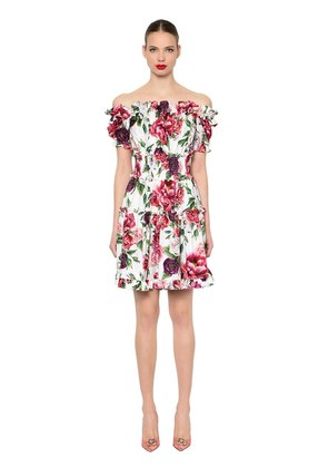 OFF THE SHOULDER FLORAL POPLIN DRESS