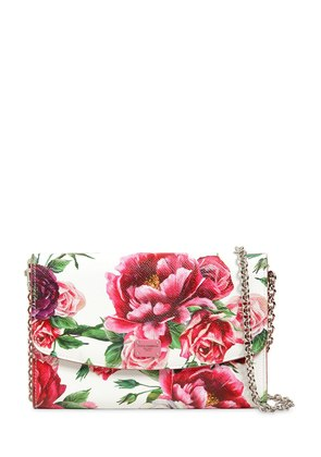 FLORAL PRINTED DAUPHINE LEATHER CLUTCH