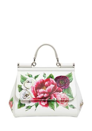 MEDIUM SICILY FLORAL PRINTED LEATHER BAG