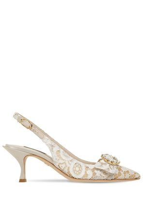 60MM LORI CRYSTALS LACE SLINGBACK PUMPS