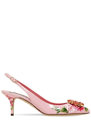 60MM BELLUCCI FLORAL PATENT LEATHER PUMP
