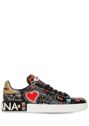 20MM PORTOFINO GRAFFITI LEATHER SNEAKERS