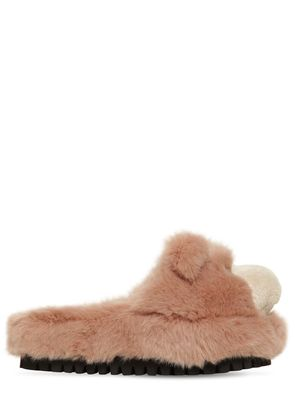 30MM FAUX FUR BEAR SLIDE SANDALS
