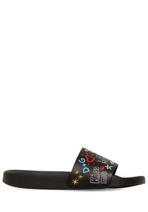 GRAFFITI LEATHER SLIDE SANDALS
