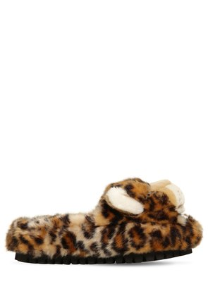 30MM FAUX FUR LEOPARD SLIDE SANDALS