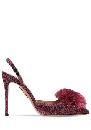 105MM POWDER PUFF LUREX SLINGBACK PUMPS