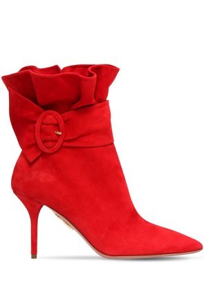 85MM PALACE RUFFLED SUEDE ANKLE BOOTS