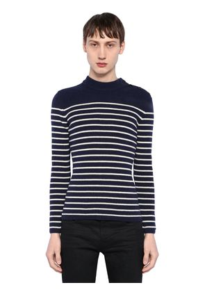 STRIPED WOOL RIB KNIT SWEATER