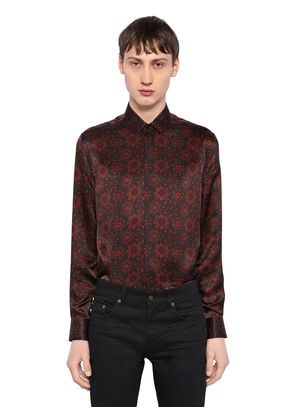FLORAL PRINTED SILK SATIN SHIRT