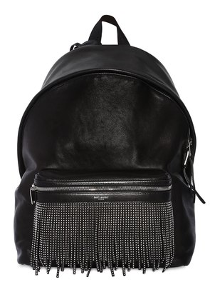STUD FRINGE LEATHER BACKPACK W/