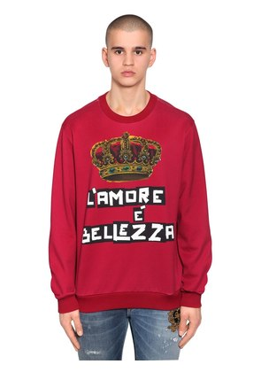 CROWN PRINTED JERSEY SWEATER