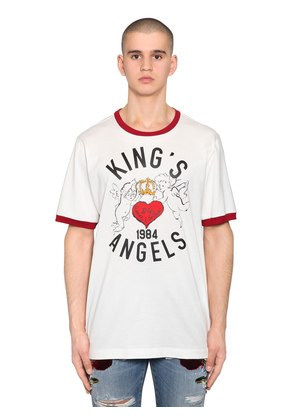 KING'S ANGEL PRINT COTTON JERSEY T-SHIRT