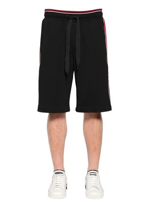 COTTON SWEAT SHORTS W/ SATIN SIDE BANDS