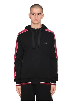 HOODED ZIP-UP SWEATSHIRT W/ SATIN BANDS