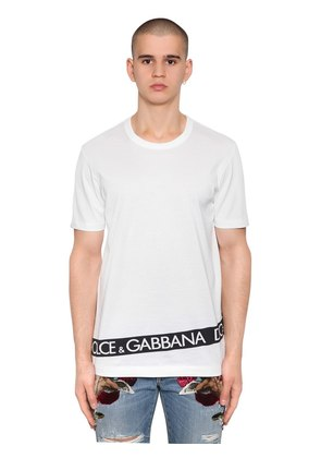LOGO TAPE PRINTED COTTON JERSEY T-SHIRT