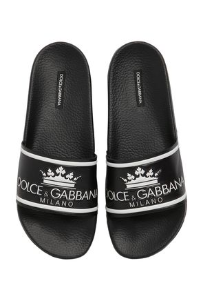 D&G RUBBERIZED LEATHER SLIDE SANDALS