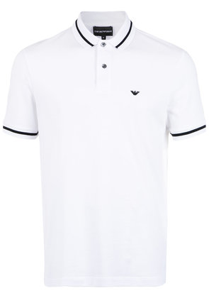 Emporio Armani stripe-trimmed polo shirt - White