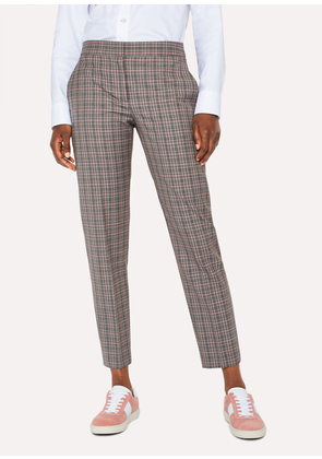 Women's Grey And Pink Check Wool Trousers