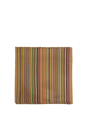 Signature-stripe silk pocket square