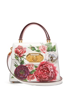 Welcome doorbell floral-print leather bag