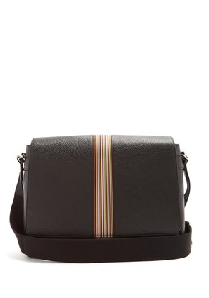 Signature stripe leather messenger bag