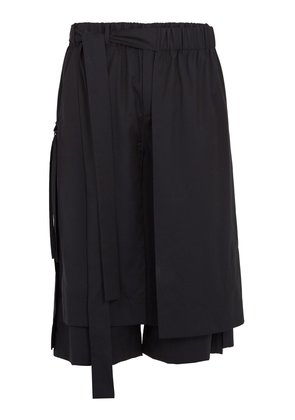 Layered tie-side wool cropped trousers