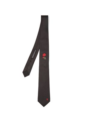 Rose-embroidered skull tie