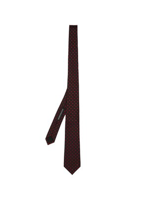 Polka-dot embroidered silk tie
