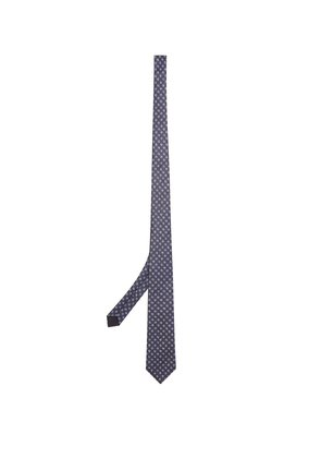 Checked silk tie