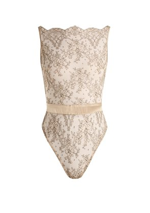 Angelique embroidered-tulle bodysuit