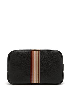 Signature stripe grained-leather washbag