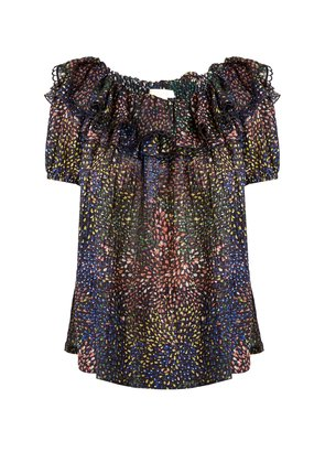 Abstract-print ruffle-trimmed voile top