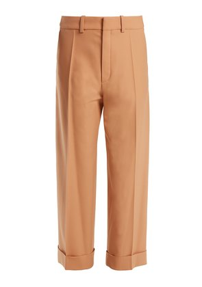 Wide-leg cropped stretch-wool trousers