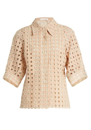Embroidered eyelet cotton-blend shirt