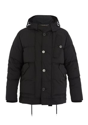 Hooded down-padded jacket