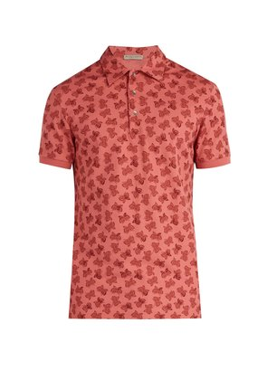 Butterfly-print polo shirt