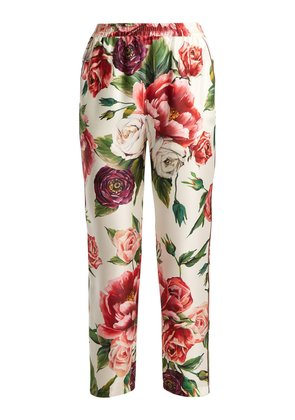 Silk-twill rose and peony-print trousers