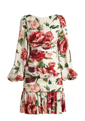 Silk-blend charmeuse rose and peony-print dress